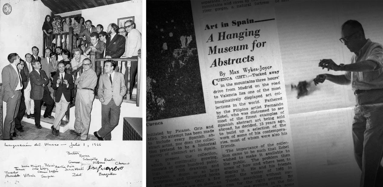 Dcha. Inauguración del Museo el 1 de Julio de 1966. Izq. Noticia de la inauguración aparecida en un medio de prensa internacional.