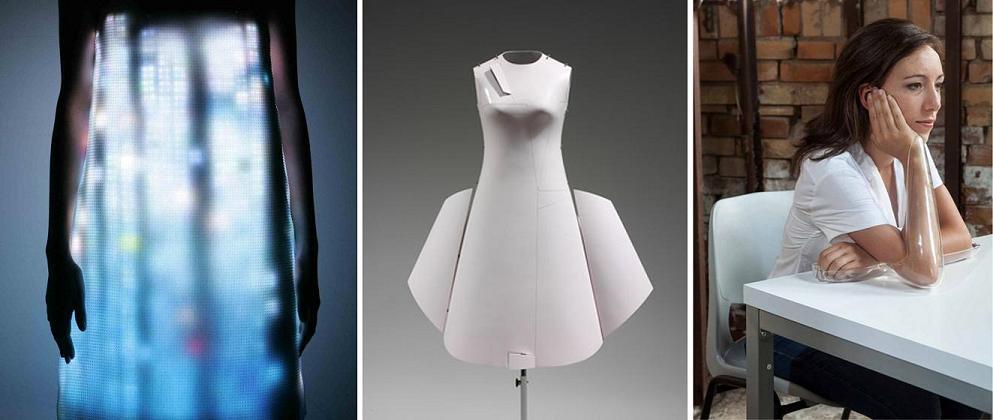 Izq: Airborne, otoño/invierno 2007. Centro: Remote Control Dress, primavera/verano 2000. Fibra de vidrio y resina. Dcha: Glasstress White Light/White heat, 2013
